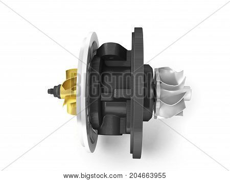 Concept Of Cartridge Turbine Front 3D Rendering On White Background