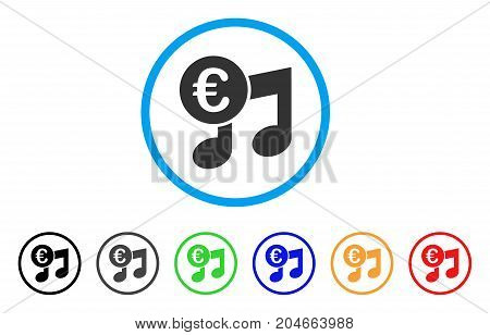 Euro Music Notes rounded icon. Style is a flat euro music notes gray symbol inside light blue circle with black, gray, green, blue, red, orange color versions.