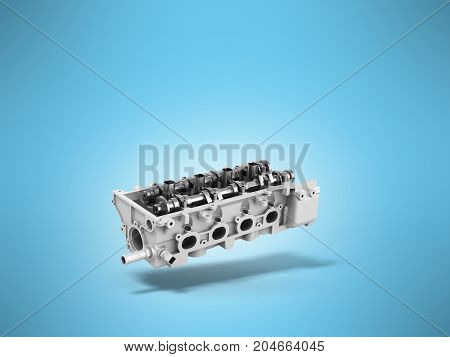 Concept Of The Cylinder Head 3D Render On A Blue Background