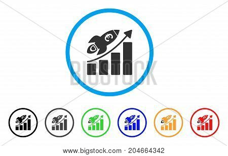 Euro Success Business Start rounded icon. Style is a flat euro success business start grey symbol inside light blue circle with black, gray, green, blue, red, orange color versions.