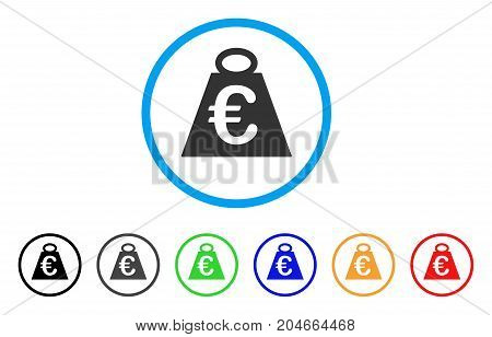 Euro Weight Standard rounded icon. Style is a flat euro weight standard grey symbol inside light blue circle with black, gray, green, blue, red, orange color versions.