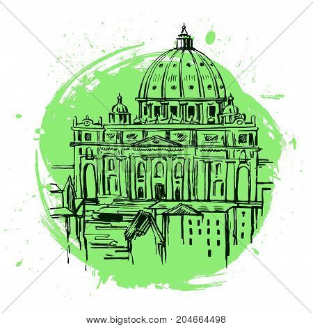 St. Peter's Cathedral, Rome, Italy. Hand drawn vector illustration isolated on white background. Saint Pietro Basilica.