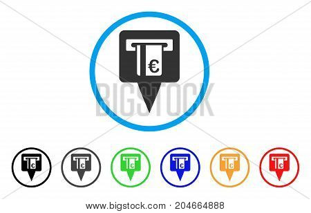 Euro ATM Pointer rounded icon. Style is a flat euro ATM pointer grey symbol inside light blue circle with black, gray, green, blue, red, orange color versions.