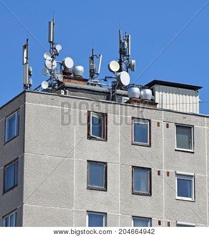 Antennas on the top of a high apartment building
