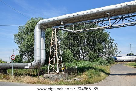 Steel pipeline of the power station in the city
