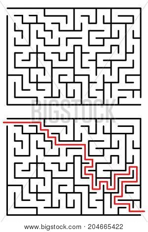 Maze or Labyrinth with entry and exit. Vector illustration isolated on white background