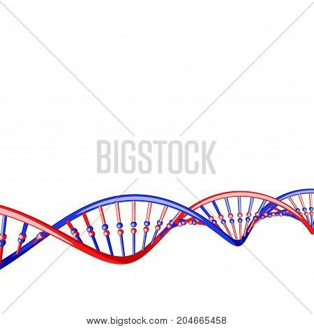 DNA strand. Isolated on white background. 3D rendering illustration. Cartoon style.