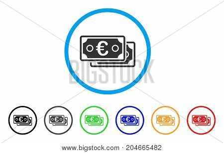 Euro Banknotes rounded icon. Style is a flat euro banknotes grey symbol inside light blue circle with black, gray, green, blue, red, orange color versions.