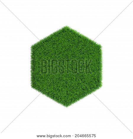 Patch of grass in form of hexagon. Isolated on white background.3D rendering illustration.