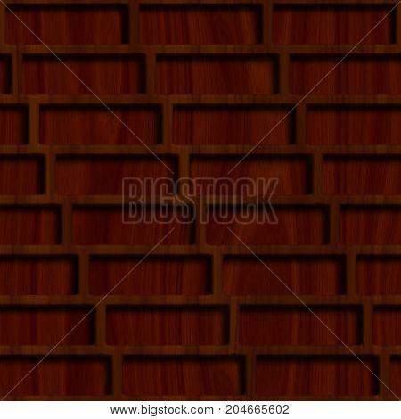 Wooden lattice on wood background. Seamless pattern.