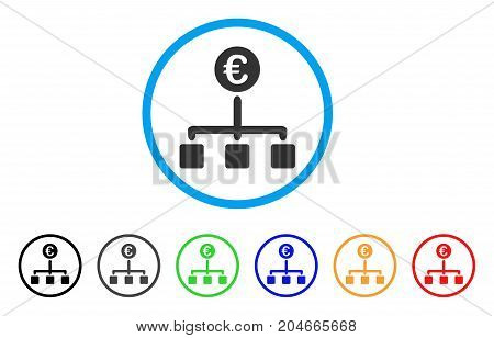 Euro Cash Flow rounded icon. Style is a flat euro cash flow grey symbol inside light blue circle with black, gray, green, blue, red, orange versions. Vector designed for web and software interfaces.