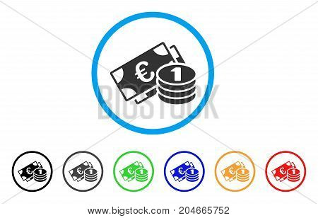 Euro Cash rounded icon. Style is a flat euro cash gray symbol inside light blue circle with black, gray, green, blue, red, orange versions. Vector designed for web and software interfaces.