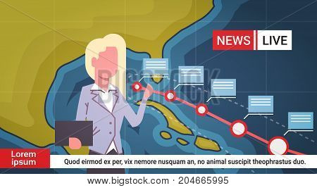 Woman Reporter Leading Life News About Hurricane Weather Broadcast Storm Or Tornado Image Coming To Usa Coast Concept Vector Illustration