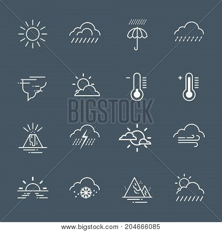 Set Of Weather Icons On Gray Background Climate Forecast Collection Vector Illustration