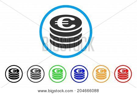 Euro Coin Stack rounded icon. Style is a flat euro coin stack grey symbol inside light blue circle with black, gray, green, blue, red, orange versions. Vector designed for web and software interfaces.