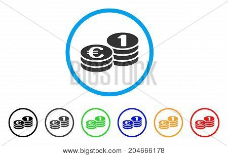 Euro Coins rounded icon. Style is a flat euro coins grey symbol inside light blue circle with black, gray, green, blue, red, orange color versions. Vector designed for web and software interfaces.