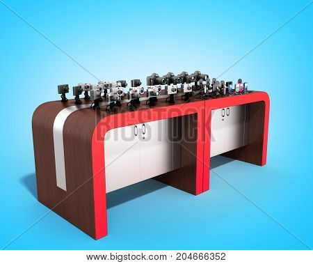 Shopping Rack For Electronic 3D Render On Blue Background