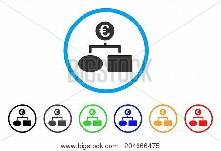 Euro Flow Chart rounded icon. Style is a flat euro flow chart grey symbol inside light blue circle with black, gray, green, blue, red, orange color versions.