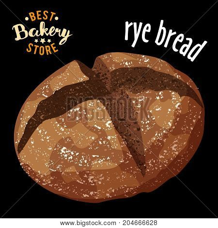 realistic Baked rye bread vector. Baked realistic bread product