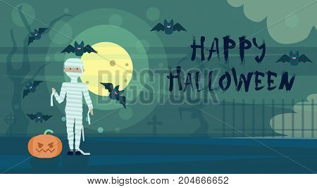 Happy Halloween Greeting Card Mummy At Night On Cemetery Graveyard With Pumpkin Banner Flat Vector Illustration