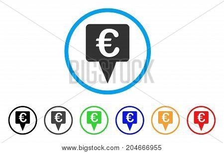 Euro Map Pointer rounded icon. Style is a flat euro map pointer gray symbol inside light blue circle with black, gray, green, blue, red, orange versions.
