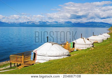 Tourist center in Mongolia on the shore of Lake Hovsgol. Yurts - a traditional home in Mongolia