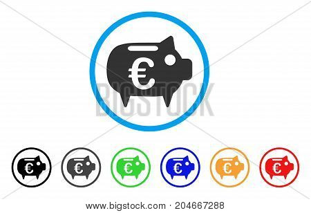 Euro Piggy Bank rounded icon. Style is a flat euro piggy bank gray symbol inside light blue circle with black, gray, green, blue, red, orange variants. Vector designed for web and software interfaces.