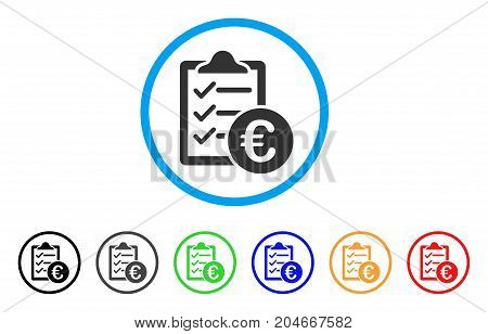 Euro Purchase Pad rounded icon. Style is a flat euro purchase pad gray symbol inside light blue circle with black, gray, green, blue, red, orange color versions.