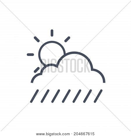 Clouds With Rain And Sun Weather Icon Climate Forecast Concept Vector Illustration
