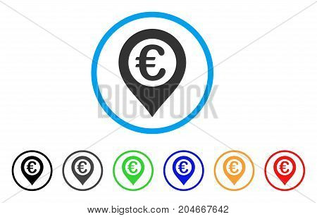Euro Pushpin rounded icon. Style is a flat euro pushpin grey symbol inside light blue circle with black, gray, green, blue, red, orange color versions. Vector designed for web and software interfaces.