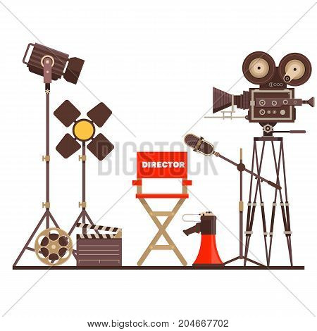 Director s workplace Chair, Megaphone and searchlight.Objects isolated on a white background.