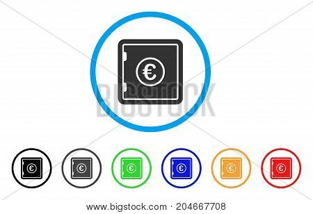 Euro Safe rounded icon. Style is a flat euro safe gray symbol inside light blue circle with black, gray, green, blue, red, orange color versions. Vector designed for web and software interfaces.
