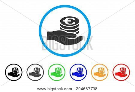 Euro Salary rounded icon. Style is a flat euro salary gray symbol inside light blue circle with black, gray, green, blue, red, orange versions. Vector designed for web and software interfaces.