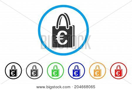 Euro Shopping Bag rounded icon. Style is a flat euro shopping bag grey symbol inside light blue circle with black, gray, green, blue, red, orange versions.