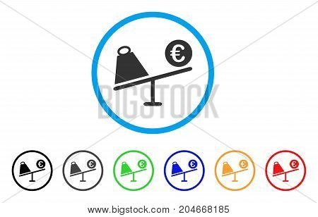 Euro Trade Swing rounded icon. Style is a flat euro trade swing grey symbol inside light blue circle with black, gray, green, blue, red, orange versions.