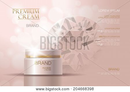 3d realistic vector background cosmetic ads. Premium hydrating facial cream container mockup isolated delicate rose beige. Skin care with diamond precious powder gemstone gem art
