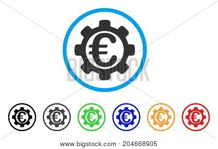 Euro Options rounded icon. Style is a flat euro options grey symbol inside light blue circle with black, gray, green, blue, red, orange color versions. Vector designed for web and software interfaces.