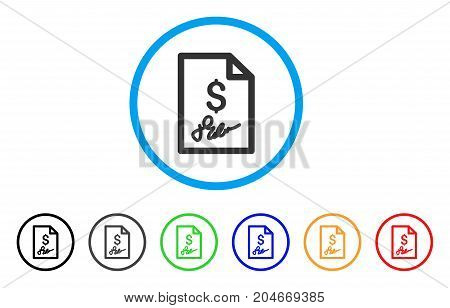 Invoice Page rounded icon. Style is a flat invoice page gray symbol inside light blue circle with black, gray, green, blue, red, orange versions. Vector designed for web and software interfaces.