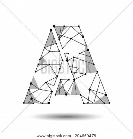 Low poly letter A English Latin Cyrillic. Polygonal triangle connect dot point line. Black white 3d structure model font type vector logo illustration art