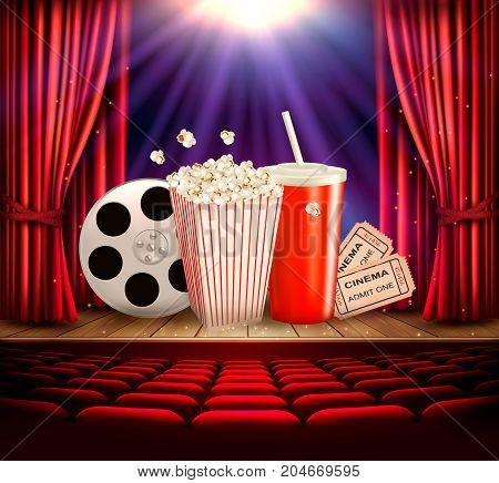 Cinema background with a film reel popcorn drink and tickets. Vector.
