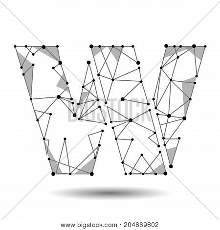 Low poly letter W English Latin. Polygonal triangle connect dot point line. Black white 3d structure model font type vector logo illustration art