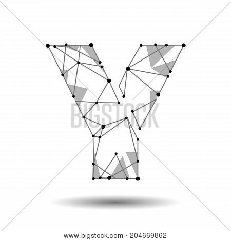 Low poly letter Y English Latin. Polygonal triangle connect dot point line. Black white 3d structure model font type vector logo illustration art
