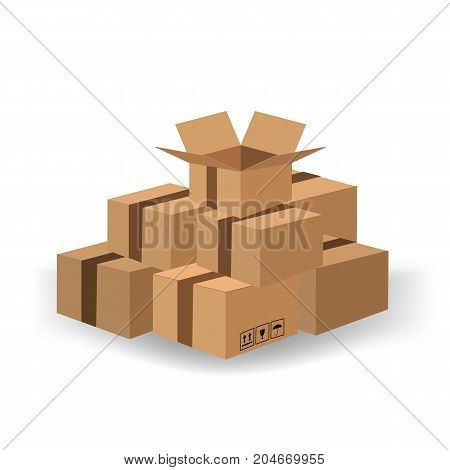Set of Cardboard Boxes Isolated on White Background