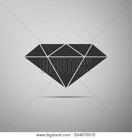 Diamond sign icon isolated on grey background. Jewelry symbol. Gem stone. Flat design. Vector Illustration