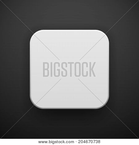 White abstract app icon, blank button template with realistic shadow and black background for design concepts, web sites, user interfaces, UI, applications, apps, mock-ups. Vector illustration.