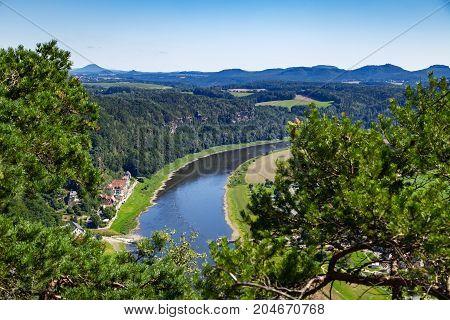 Eelbe River At National Park Saxon Switzerland