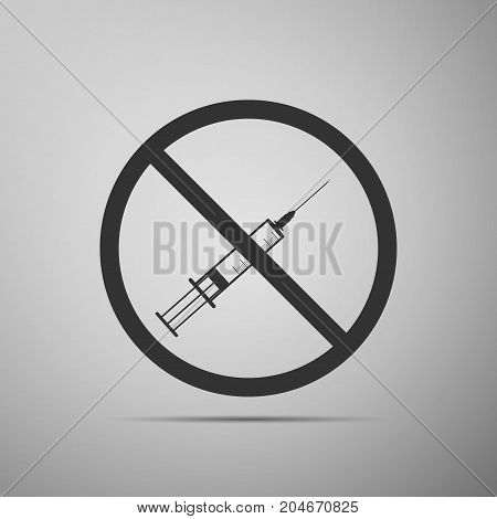 No syringe sign . No vaccine icon isolated on grey background. Flat design. Vector Illustration