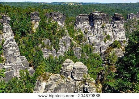 National Park Saxon Switzerland At Summer Daytime