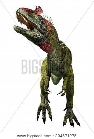 3D Rendering Dinosaur Cryolophosaurus On White
