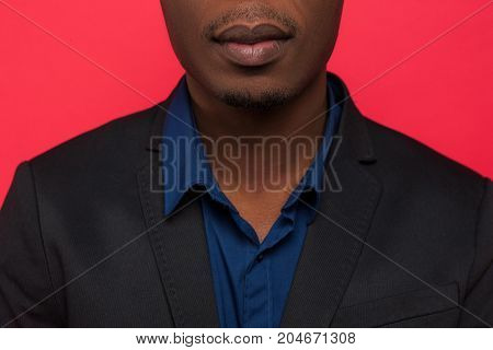 African American businessman in formal clothes. Unrecognizable successful male getting job, black man on interview in office